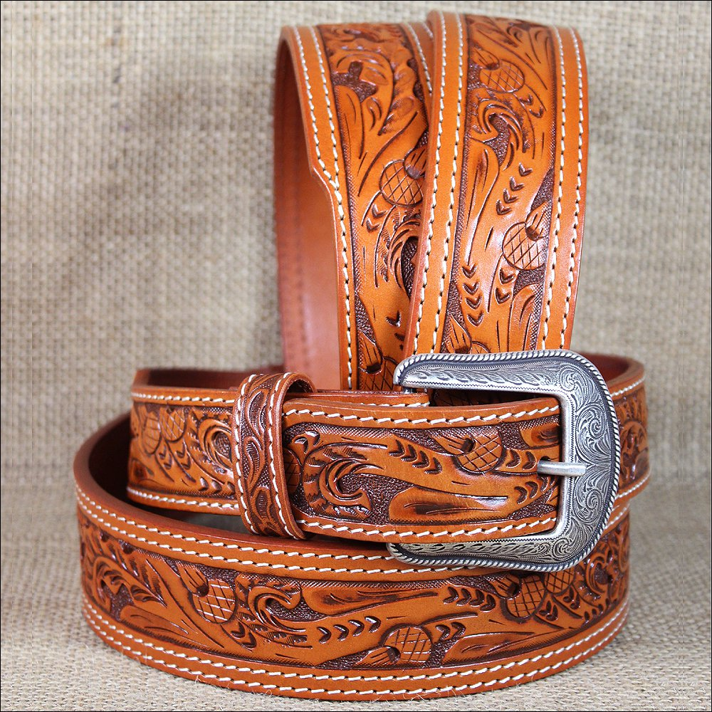 """42x1 1/2"""" 3D NATURAL MENS WESTERN FASHION LEATHER BELT REMOVABLE BUCKLE"""