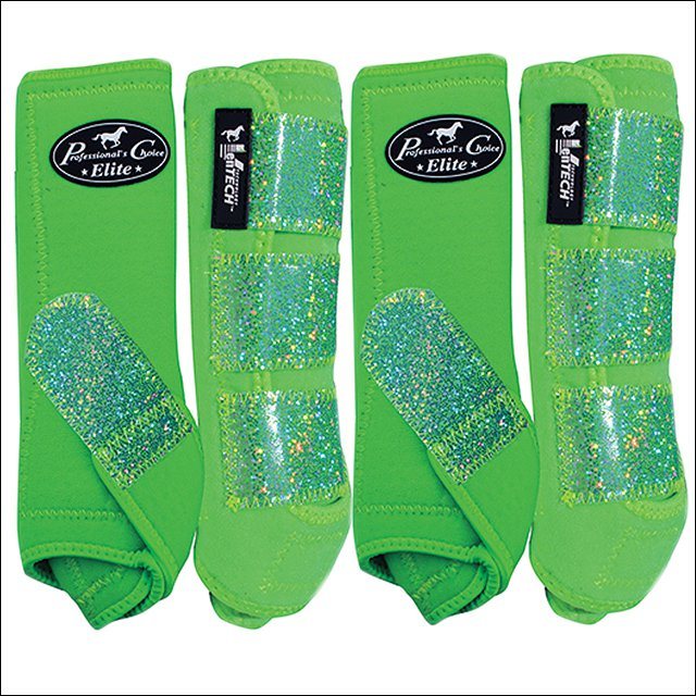 SML PROFESSIONAL CHOICE SPORTS MEDICINE HORSE LEG BOOTS 4 PACK GLITTER LIME