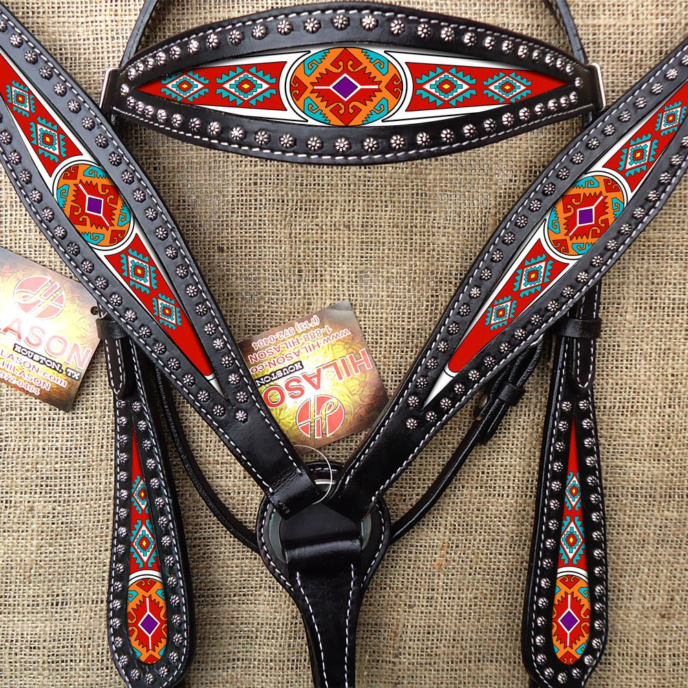 HILASON WESTERN LEATHER HEADSTALL BRIDLE BREAST COLLAR BLACK AZTEC PAINTED INLAY