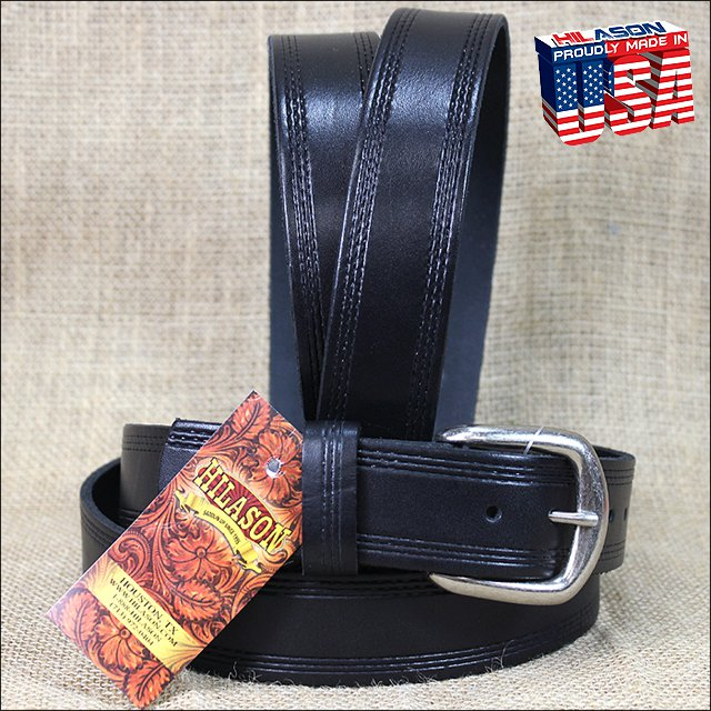 54IN. BLACK 1.5in CASUAL LEATHER BELT TRIPLE STITCHED EMBOSSED BORDER MADE IN US