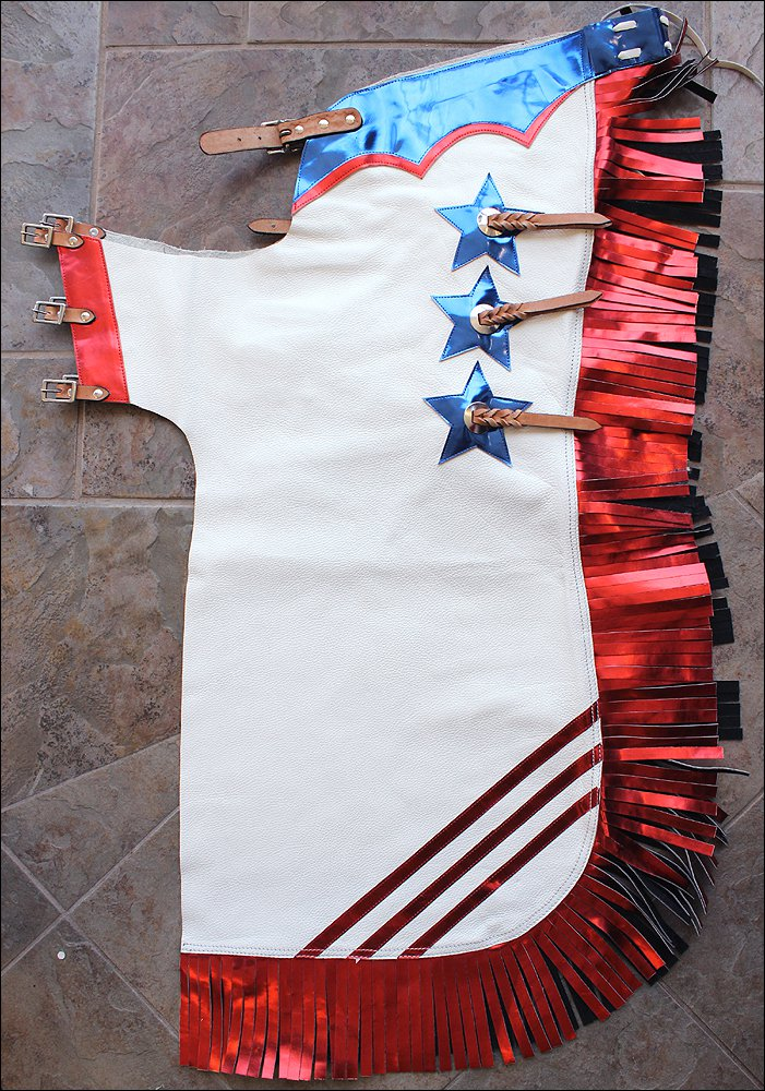 CH250-F HILASON US FLAG WHITE SMOOTH LEATHER BULL RIDING PRO RODEO WESTERN CHAPS