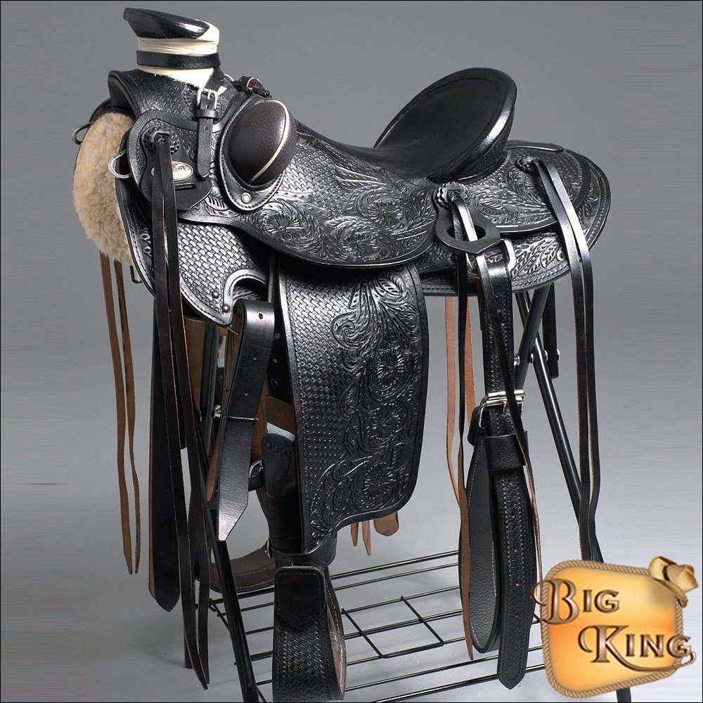 WD090BK HILASON BIG KING SERIES WESTERN WADE RANCH ROPING COWBOY SADDLE 15 16 17
