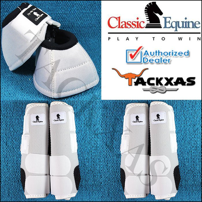 SMALL WHITE CLASSIC EQUINE FRONT REAR LEGACY SPORTS HORSE LEG NO TURN BELL BOOTS