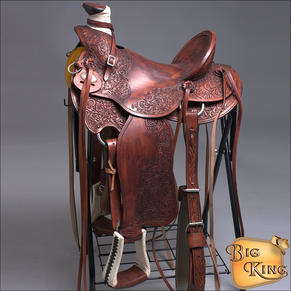 WD077M-F HILASON BIG KING HIGH BACK WESTERN WADE RANCH ROPING COWBOY SADDLE 16