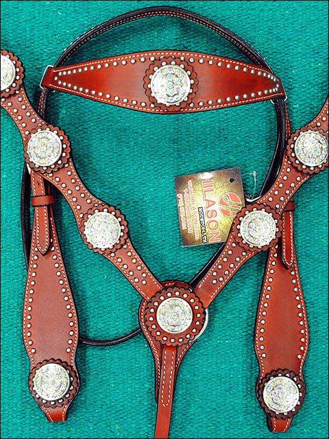 HILASON WESTERN LEATHER HORSE BREAST COLLAR MAHOGANY W/ CRYSTAL CONCHO