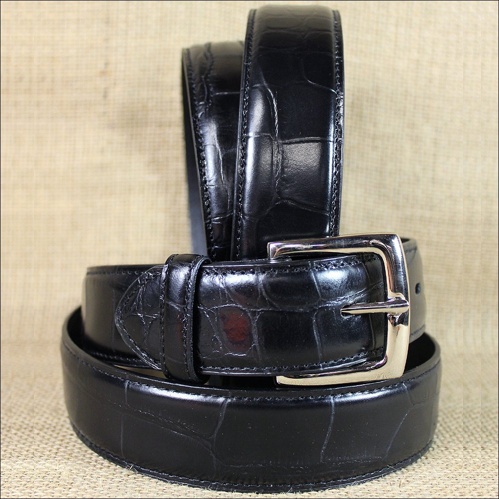 "34 X 1 1/2"" 3D BLACK MENS DRESS BLACK GATOR PRINT LEATHER BELT REMOVABLE BUCKLE"