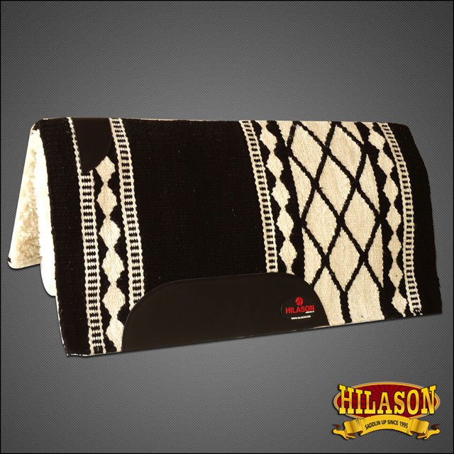 MADE IN USA BLACK WHITE HILASON WESTERN WOOL SHOCK BUSTER SADDLE BLANKET PAD