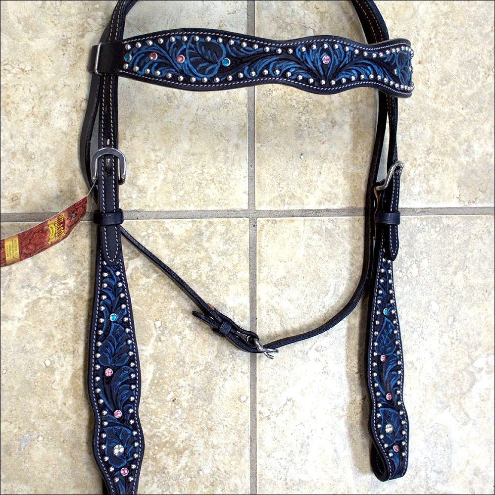 HILASON WESTERN LEATHER HORSE BRIDLE HEADSTALL BLACK TURQUOISE INLAY