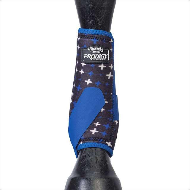 LARGE WEAVER PRODIGY ATHLETIC HORSE LEG NEOPRENE BOOTS TWO PACK BLUE CROSSES