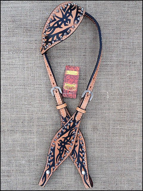 S540 NEW HILASON WESTERN LEATHER HORSE ONE EAR BRIDLE HEADSTALL - TAN & BLACK