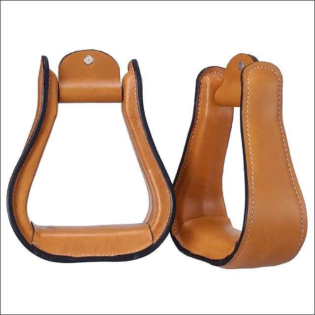 """TOUGH 1 ROYAL KING SMOOTH LEATHER HORSE STIRRUPS PAIR LIGHT OIL W/2 1/2"""" NECK"""