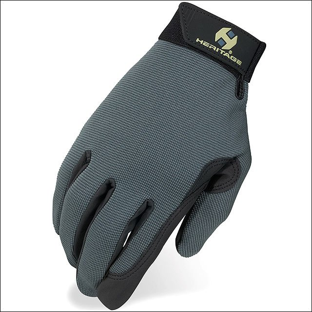 08 SIZE HERITAGE PERFORMANCE HORSE RIDING GLOVE STRETCH SPANDURA LEATHER GREY