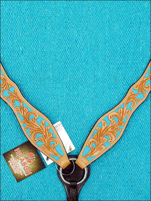 NEW HILASON WESTERN LEATHER HORSE BREAST COLLAR W/ TURQUOISE HAND PAINT INLAY