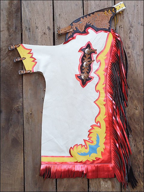 CH804F- HILASON BULL RIDING SOFT SMOOTH WHITE LEATHER RODEO WESTERN CHAPS