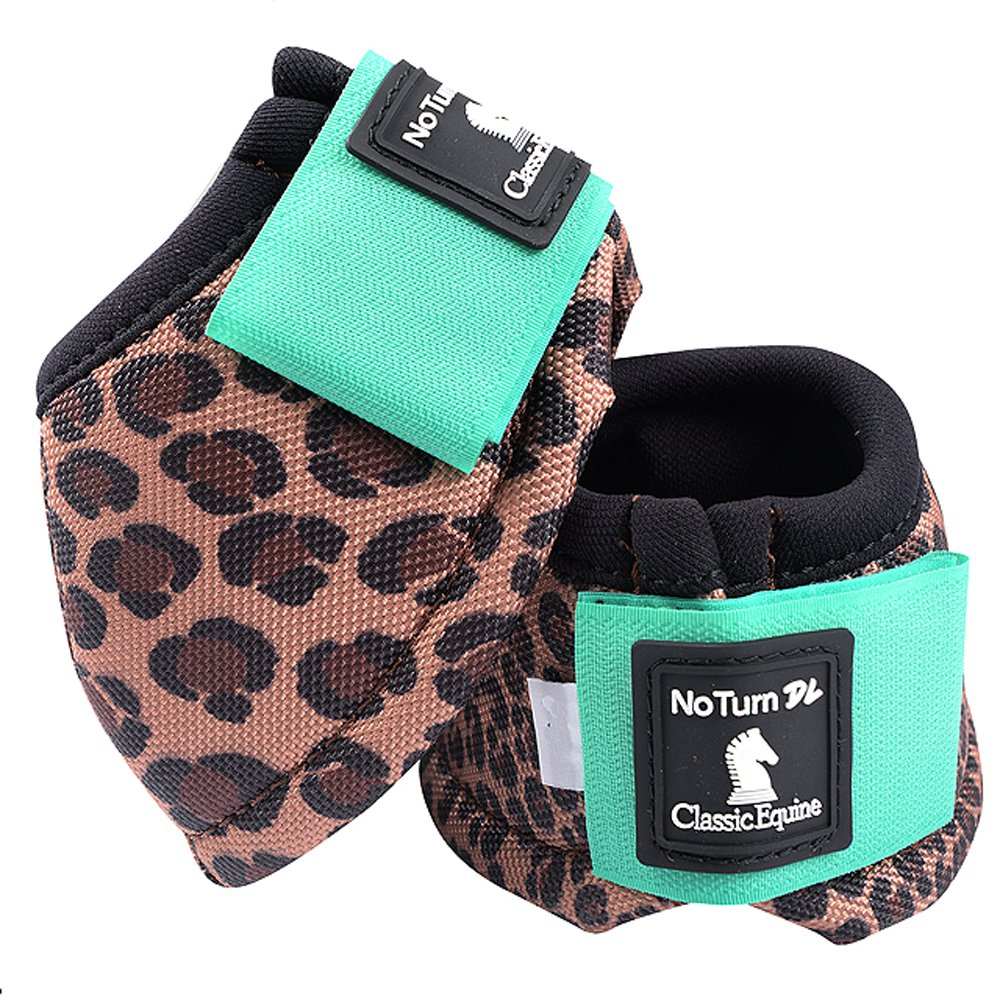 SMALL CLASSIC EQUINE NO TURN 2520D DYNOHYDE HORSE LEG BELL BOOTS CHEETAH MINT