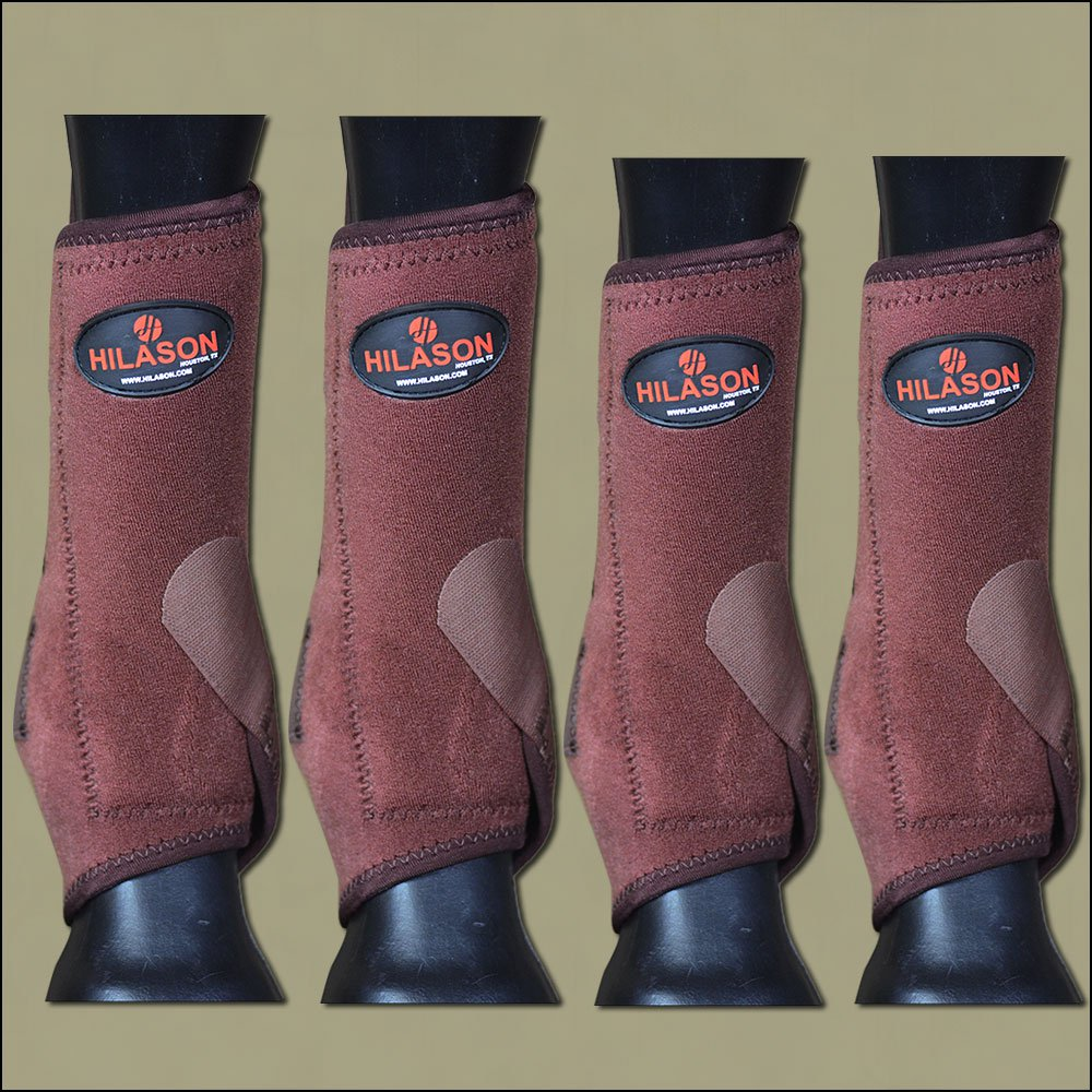 MEDIUM HILASON BROWN HORSE FRONT REAR LEG PROTECTION ULTIMATE SPORTS BOOT 4 PACK