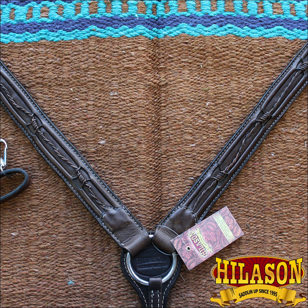 HILASON WESTERN LEATHER HORSE BREAST COLLAR BROWN BARB WIRE