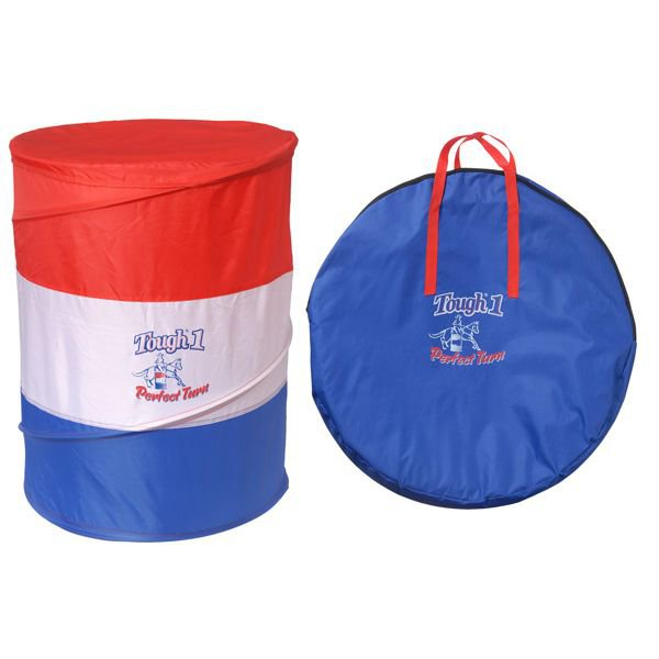 TOUGH 1 PERFECT TURN COLLAPSIBLE POLY NYLON BARREL SET OF 3 RED WHITE BLUE