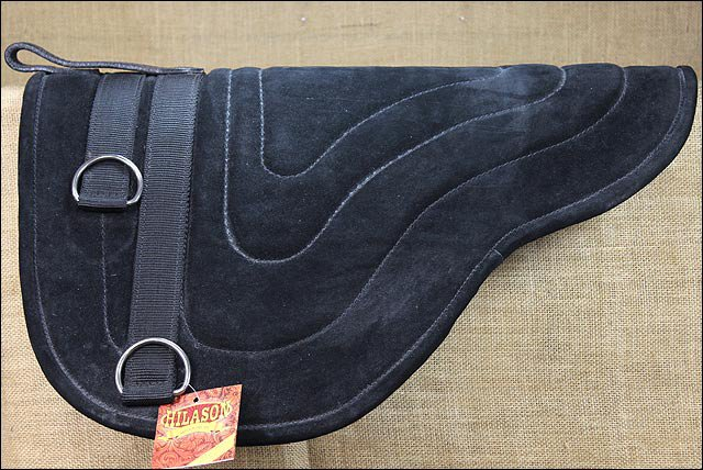 SP203F- HILASON HORSEMANSHIP LEATHER BAREBACK WESTERN TREELESS SADDLE PAD BLACK