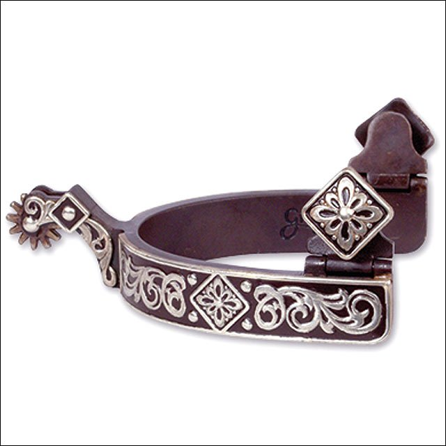 CLASSIC EQUINE LARGE SIZE GIST DESIGN DIAMOND SCROLL SPUR