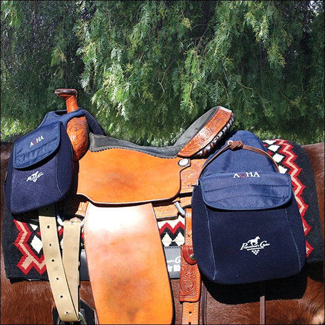 10X9 PROFESSIONAL CHOICE AQHA NEOPRENE FRONT SADDLE BAGS W/ ZIPPER TOP POCKETS