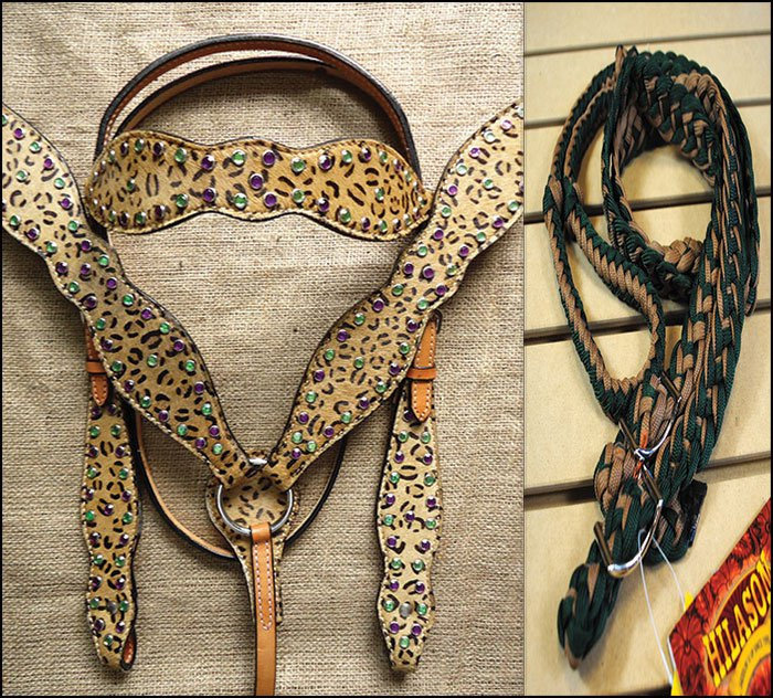 HILASON WESTERN LEATHER HORSE HEADSTALL BRIDLE BREAST COLLAR REINS CHEETAH PRINT