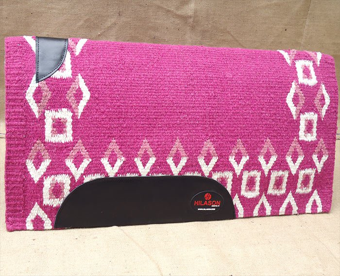 MADE IN USA FE281 HILASON WESTERN WOOL SHOCK BUSTER SADDLE BLANKET PAD PINK