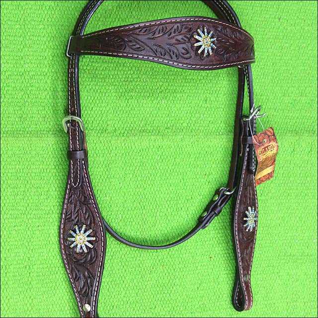 HILASON WESTERN LEATHER HORSE HEADSTALL BRIDLE BROWN W/ BLING SPUR CONCHO