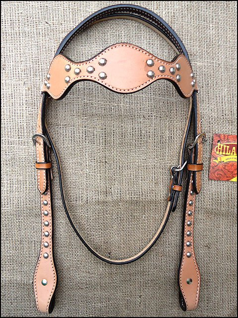 S309 NEW HILASON WESTERN LEATHER HORSE BRIDLE HEADSTALL TAN