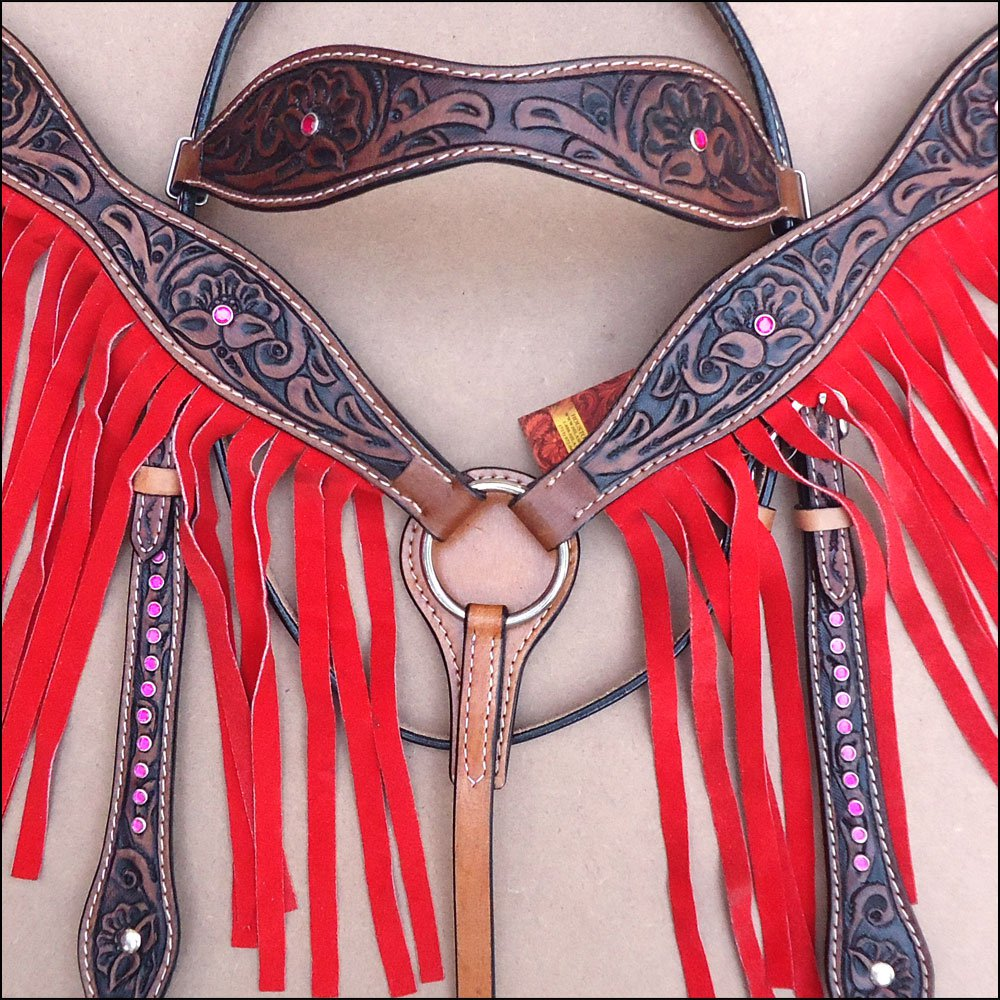HILASON WESTERN LEATHER HORSE BREAST COLLAR HEADSTALL BROWN W/ RED FRINGES