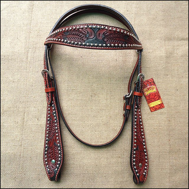 HILASON WESTERN LEATHER HORSE HEADSTALL BRIDLE MAHOGANY BLACK FLORAL CARVED