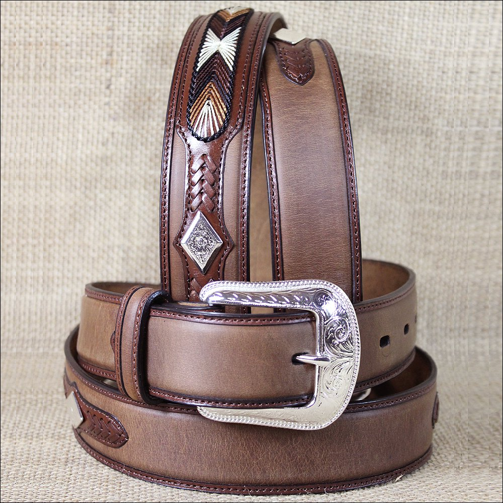 "42x1 1/2"" 3D BROWN DARK MENS WESTERN FASHION LEATHER BELT REMOVABLE BUCKLE"