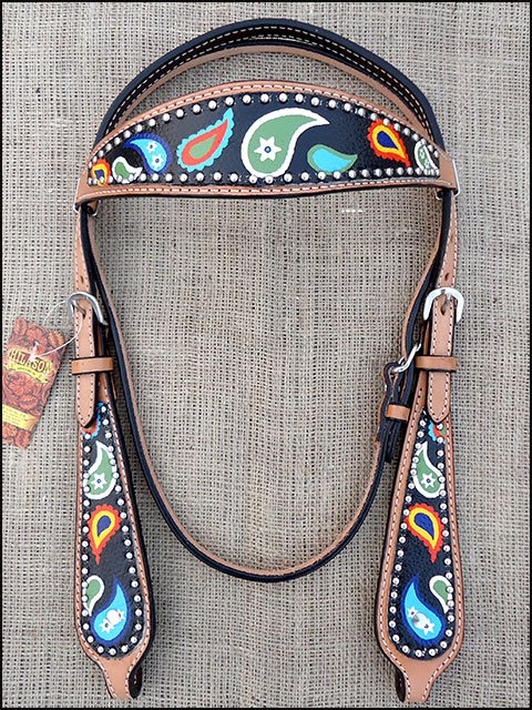 HILASON WESTERN LEATHER HORSE BRIDLE HEADSTALL HAND PAINT PAISLEY