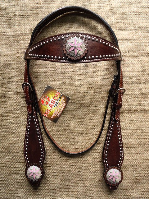 HILASON WESTERN LEATHER HORSE BRIDLE HEADSTALL BROWN PINK FLORAL CONCHO