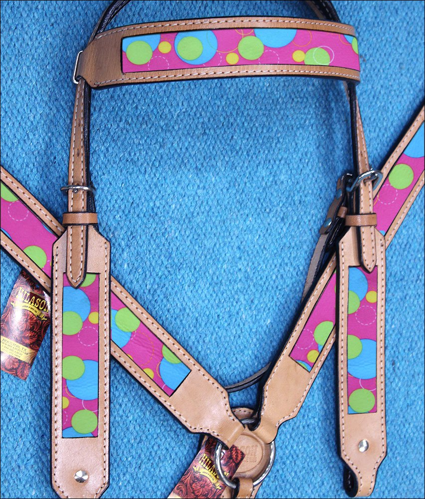 HILASON WESTERN LEATHER HORSE HEADSTALL BREAST COLLAR TAN W/ BUBBLES INLAY