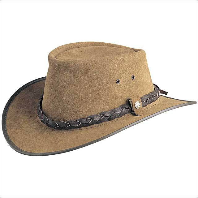 LARGE CONNER HANDMADE BC HATS BAC PAC TRAVELLER SUEDE AUSTRALIAN LEATHER BARK