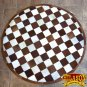 HR139-F HILASON HOME DECOR COWHIIDE HAIR ON LEATHER PATCHWORK ROUND RUGS CARPET