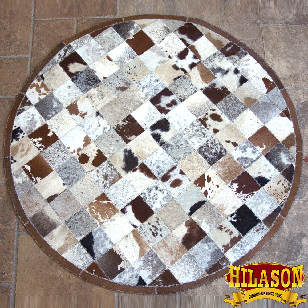 HR143-F HILASON HOME DECOR COWHIIDE HAIR ON LEATHER PATCHWORK ROUND RUGS CARPET