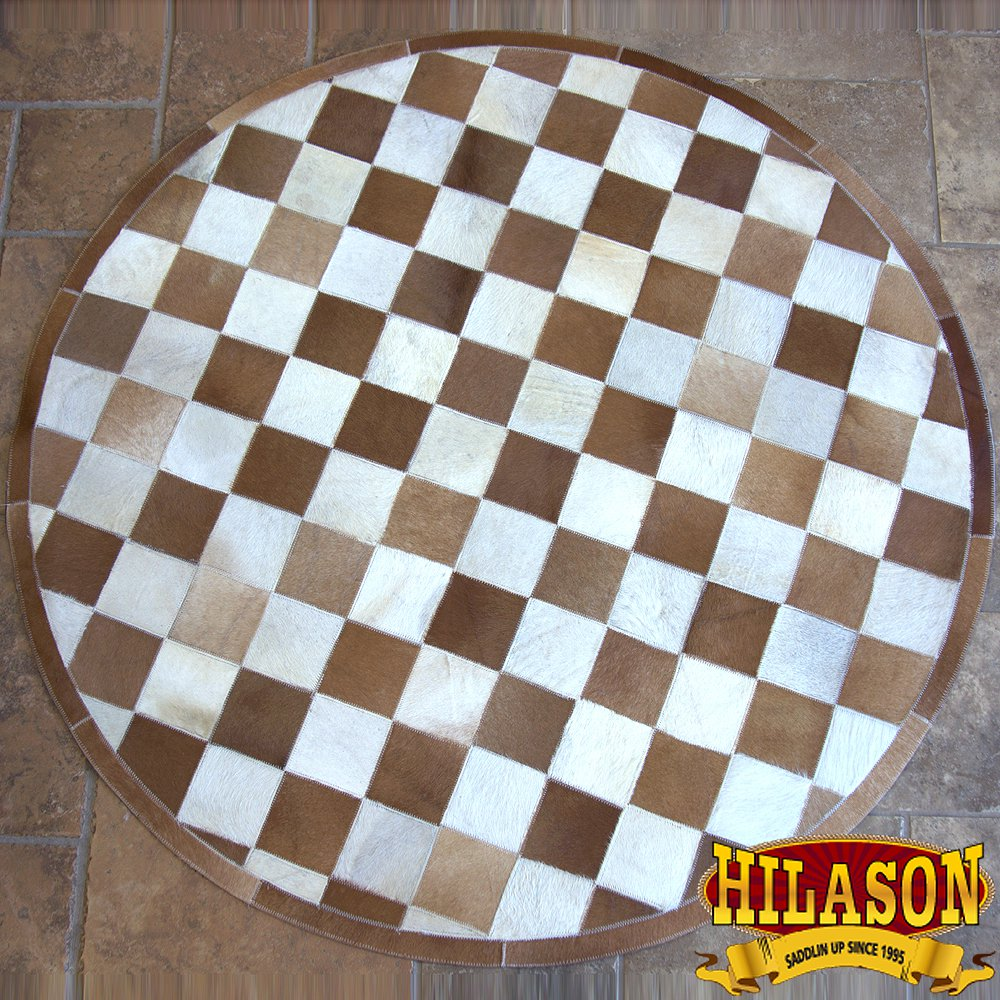 HR138-F HILASON HOME DECOR COWHIIDE HAIR ON LEATHER PATCHWORK ROUND RUGS CARPET
