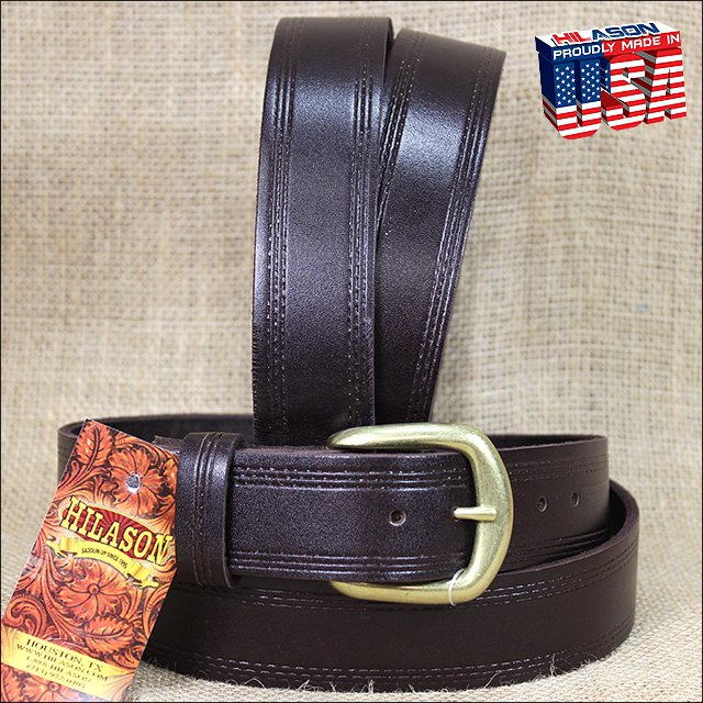 52IN. BROWN 1.5in CASUAL LEATHER BELT TRIPLE STITCHED EMBOSSED BORDER MADE IN US