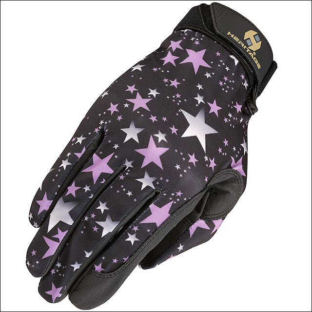 05 SIZE HERITAGE PERFORMANCE HORSE RIDING GLOVE LYCRA LEATHER STARS
