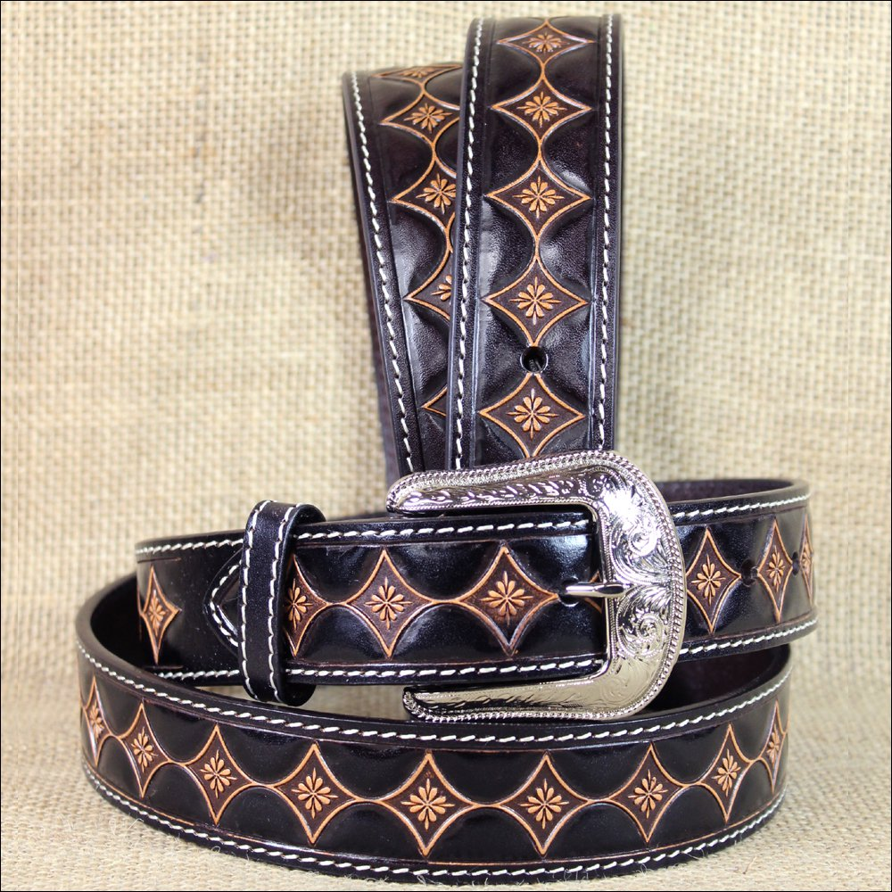 "42 x 1 1/2"" 3D DARK BROWN MENS FLOWER PATTERN WESTERN FASHION LEATHER BELT"