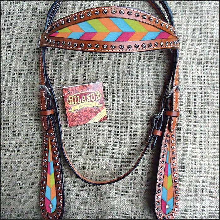 HILASON WESTERN LEATHER HORSE BRIDLE HEADSTALL MAHOGANY W/ CHEVRON INLAY