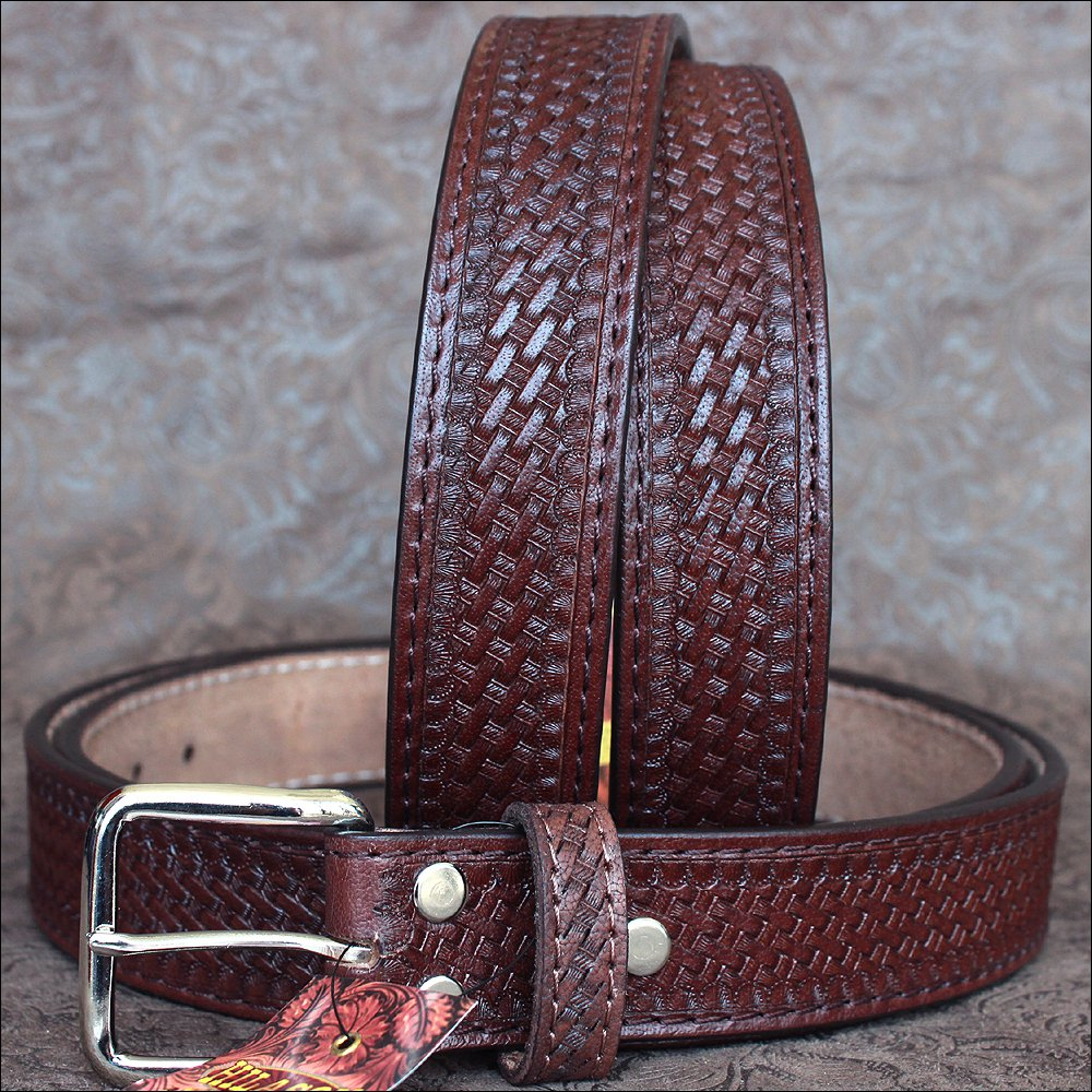 "46"" HILASON HAND MADE HEAVY DUTY BUFFALO HIDE LEATHER STICHED BELT"