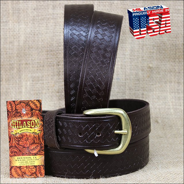 44IN. BROWN 1.5in CASUAL LEATHER BELT EMBOSSED BASKET DESIGN MADE IN USA