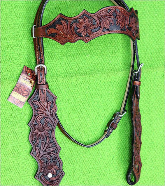 F39M HILASON WESTERN LEATHER HORSE BRIDLE HEADSTALL MAHOGANY HAND CARVED