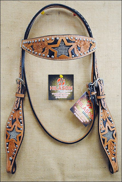HILASON WESTERN LEATHER BRIDLE HEADSTALL BLACK HAND CARVED STAR
