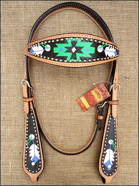 HILASON WESTERN LEATHER HORSE BRIDLE HEADSTALL HAND PAINT BLACK GREEN