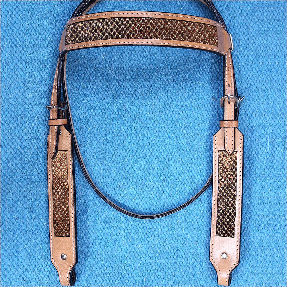 HILASON WESTERN LEATHER HORSE BRIDLE HEADSTALL TAN W/ GOLD INLAY