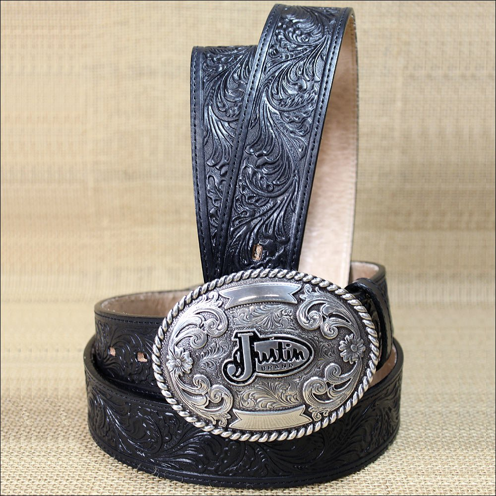 "48"" JUSTIN WESTERN BLACK TOOLED LEATHER TROPHY MEN BELT 1-1/2"" WIDE"